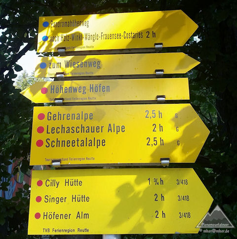 Hikingroutes-Sign Holiday Region Reutte